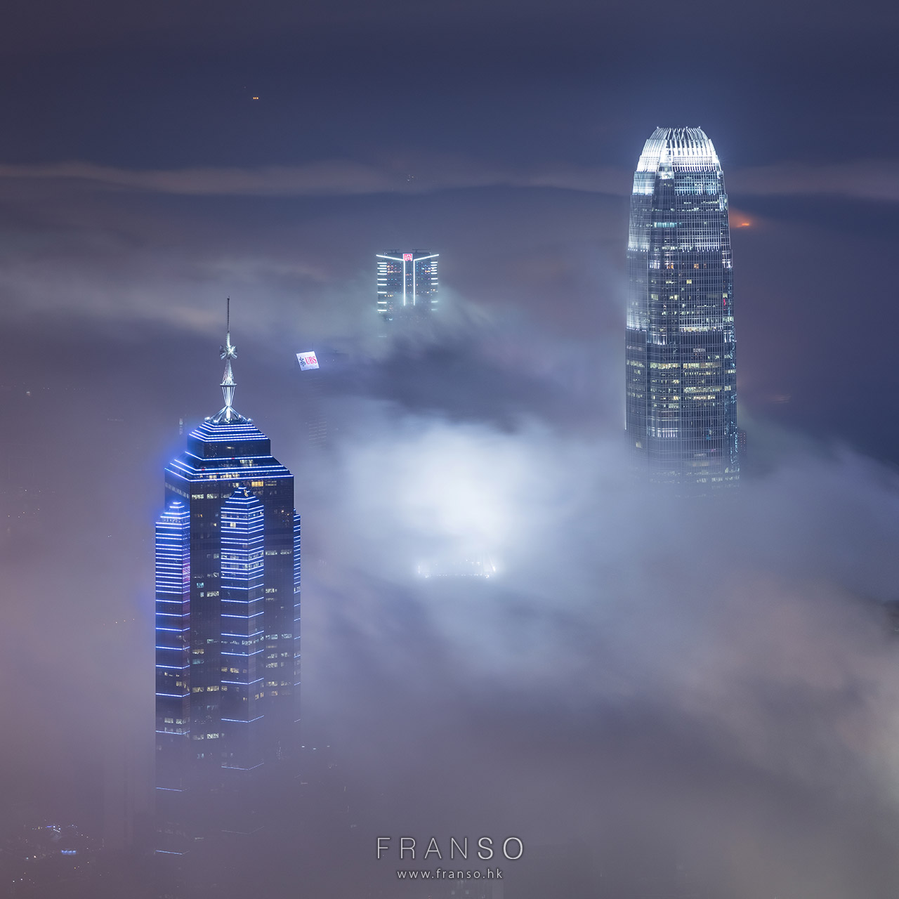 Cityscape | Hong Kong | 3 Towers  | mist, cloud, victoria harbour